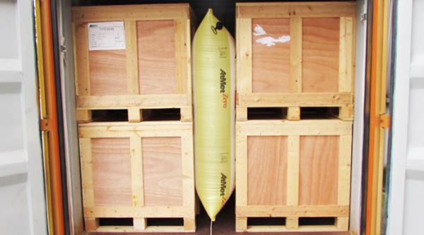 缓冲包装案例:空气填充气袋(Atmet品牌)集装箱内包装